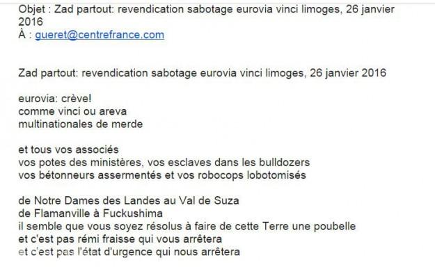 mail sabotage Vinci Limoges