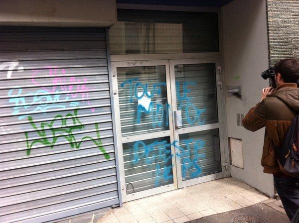Tags sur le local du PS à Rennes