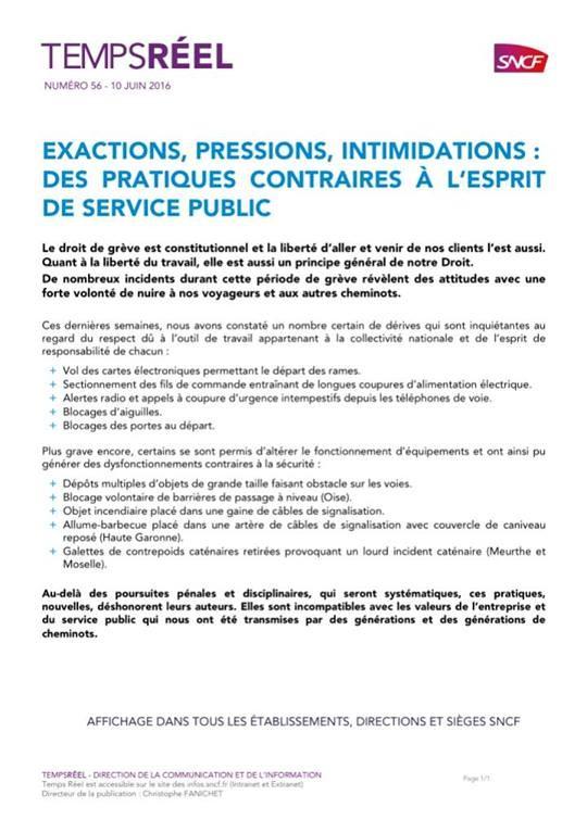 communiqué SNCF